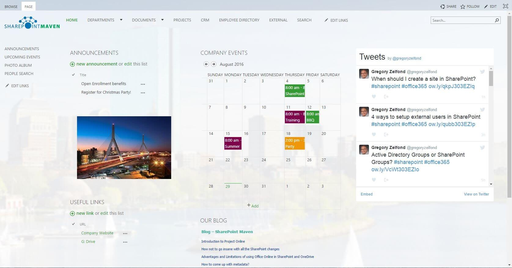 Sharepoint intranet home page 8 best practices european for Top homepage